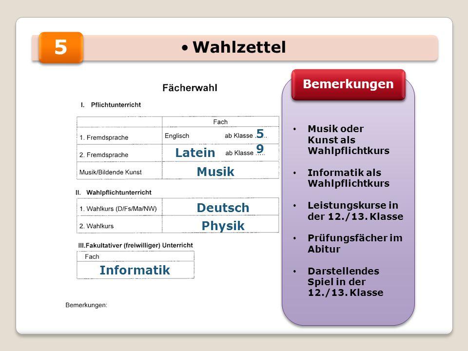 5 5 9 Musik Physik Informatik Musik oder Kunst als Wahlpflichtkurs Informatik als Wahlpflichtkurs Leistungskurse in der 12./13.
