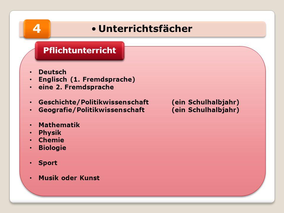 Unterrichtsfächer Deutsch Englisch (1.Fremdsprache) eine 2.