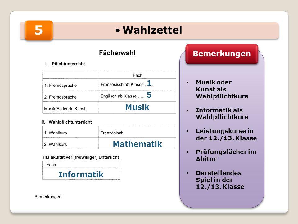 5 1 5 Musik Mathematik Informatik Musik oder Kunst als Wahlpflichtkurs Informatik als Wahlpflichtkurs Leistungskurse in der 12./13.