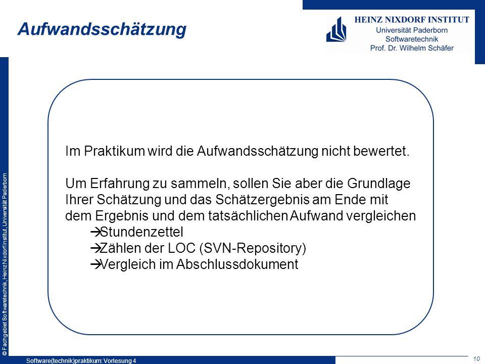 © Fachgebiet Softwaretechnik, Heinz Nixdorf Institut, Universität Paderborn Aufwandsschätzung Im Praktikum wird die Aufwandsschätzung nicht bewertet.