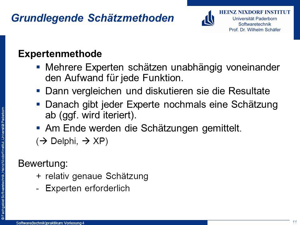 © Fachgebiet Softwaretechnik, Heinz Nixdorf Institut, Universität Paderborn Grundlegende Schätzmethoden Expertenmethode Mehrere Experten schätzen unab