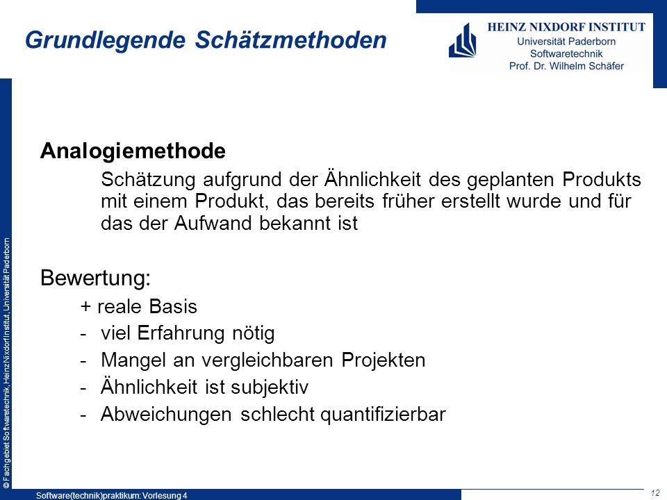 © Fachgebiet Softwaretechnik, Heinz Nixdorf Institut, Universität Paderborn Grundlegende Schätzmethoden Analogiemethode Schätzung aufgrund der Ähnlich