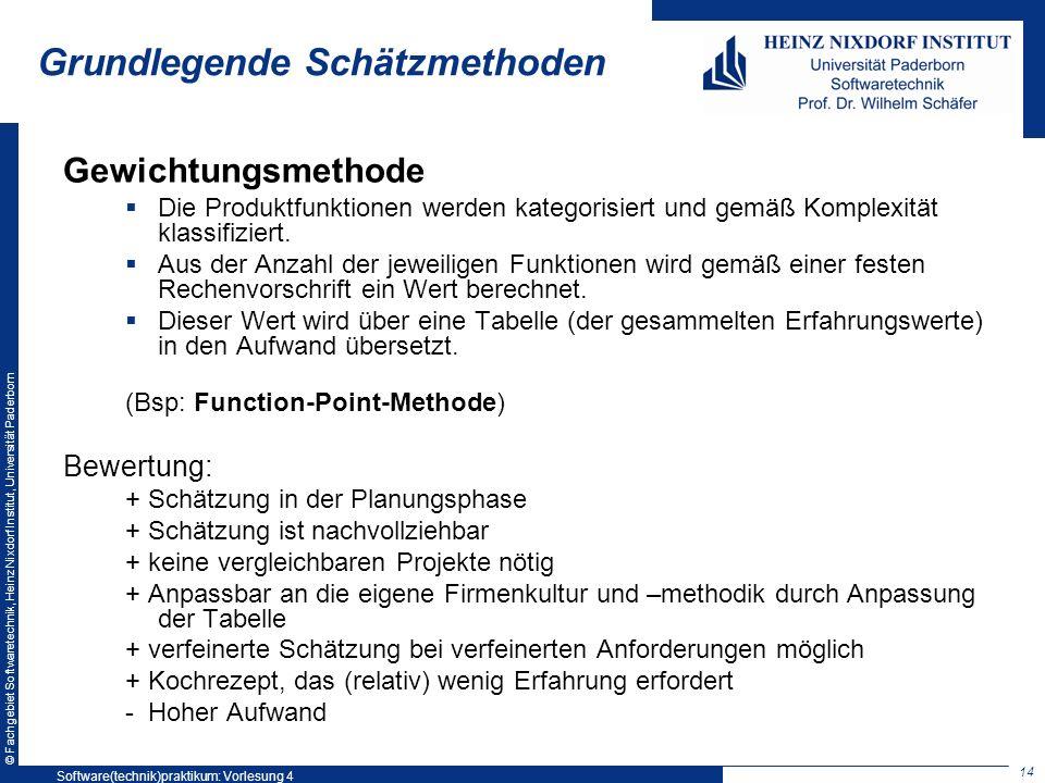 © Fachgebiet Softwaretechnik, Heinz Nixdorf Institut, Universität Paderborn Grundlegende Schätzmethoden Gewichtungsmethode Die Produktfunktionen werde