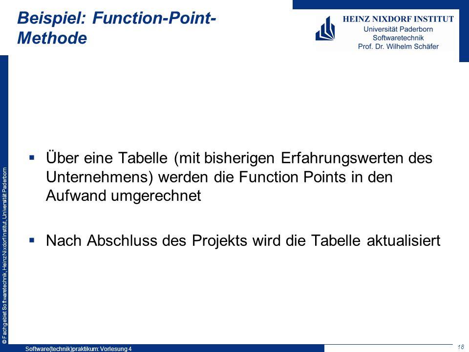© Fachgebiet Softwaretechnik, Heinz Nixdorf Institut, Universität Paderborn Beispiel: Function-Point- Methode Über eine Tabelle (mit bisherigen Erfahr