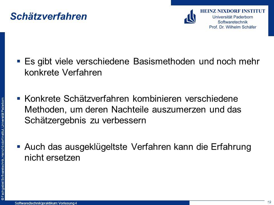 © Fachgebiet Softwaretechnik, Heinz Nixdorf Institut, Universität Paderborn Schätzverfahren Es gibt viele verschiedene Basismethoden und noch mehr kon