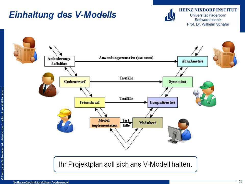 © Fachgebiet Softwaretechnik, Heinz Nixdorf Institut, Universität Paderborn Einhaltung des V-Modells 23 Ihr Projektplan soll sich ans V-Modell halten.
