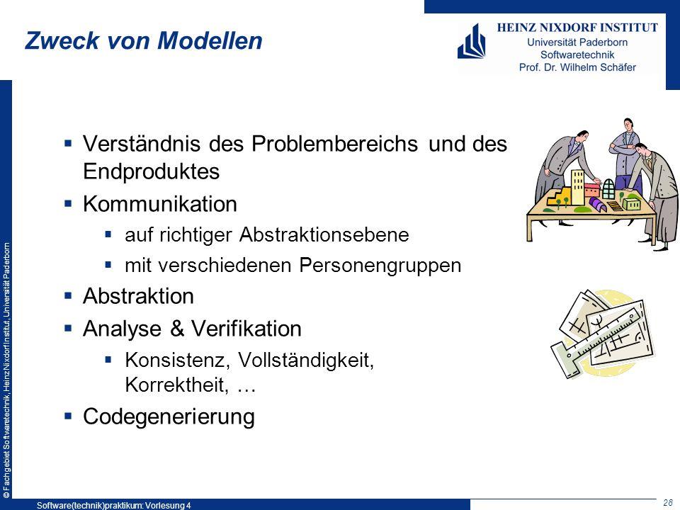 © Fachgebiet Softwaretechnik, Heinz Nixdorf Institut, Universität Paderborn Zweck von Modellen Verständnis des Problembereichs und des Endproduktes Ko