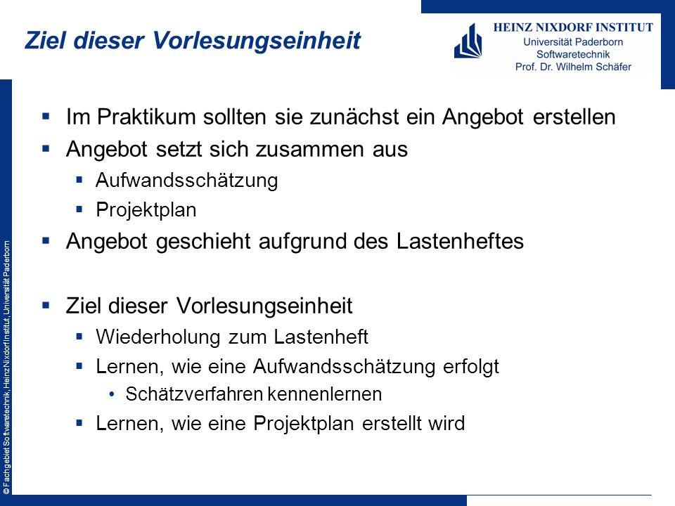 © Fachgebiet Softwaretechnik, Heinz Nixdorf Institut, Universität Paderborn Ziel dieser Vorlesungseinheit Im Praktikum sollten sie zunächst ein Angebo