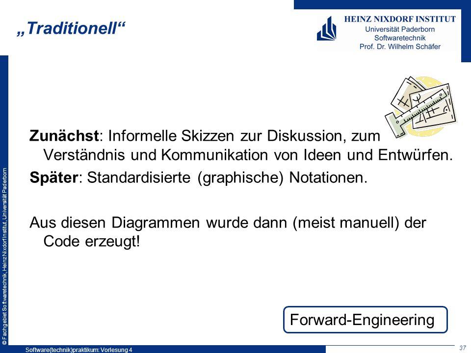 © Fachgebiet Softwaretechnik, Heinz Nixdorf Institut, Universität Paderborn Traditionell Zunächst: Informelle Skizzen zur Diskussion, zum Verständnis