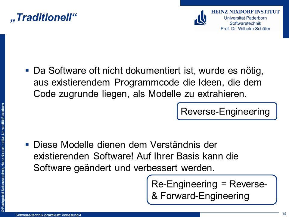 © Fachgebiet Softwaretechnik, Heinz Nixdorf Institut, Universität Paderborn Traditionell Da Software oft nicht dokumentiert ist, wurde es nötig, aus e