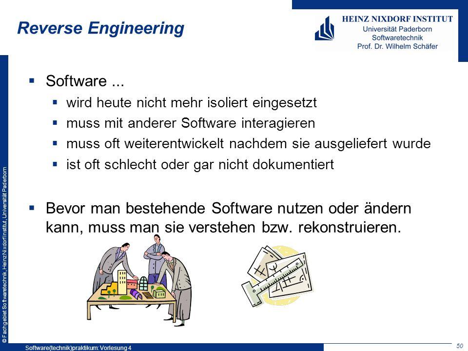 © Fachgebiet Softwaretechnik, Heinz Nixdorf Institut, Universität Paderborn Reverse Engineering Software... wird heute nicht mehr isoliert eingesetzt