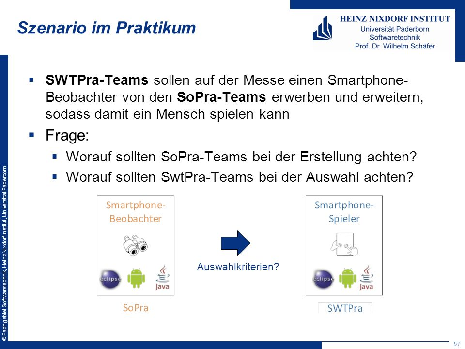 © Fachgebiet Softwaretechnik, Heinz Nixdorf Institut, Universität Paderborn Szenario im Praktikum SWTPra-Teams sollen auf der Messe einen Smartphone-