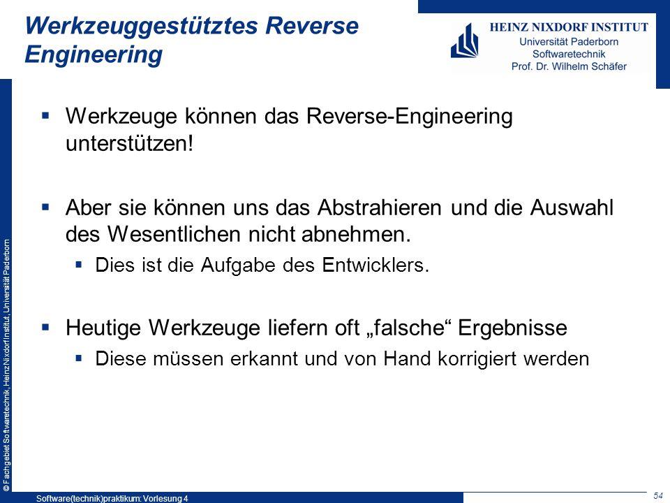 © Fachgebiet Softwaretechnik, Heinz Nixdorf Institut, Universität Paderborn Werkzeuggestütztes Reverse Engineering Werkzeuge können das Reverse-Engine