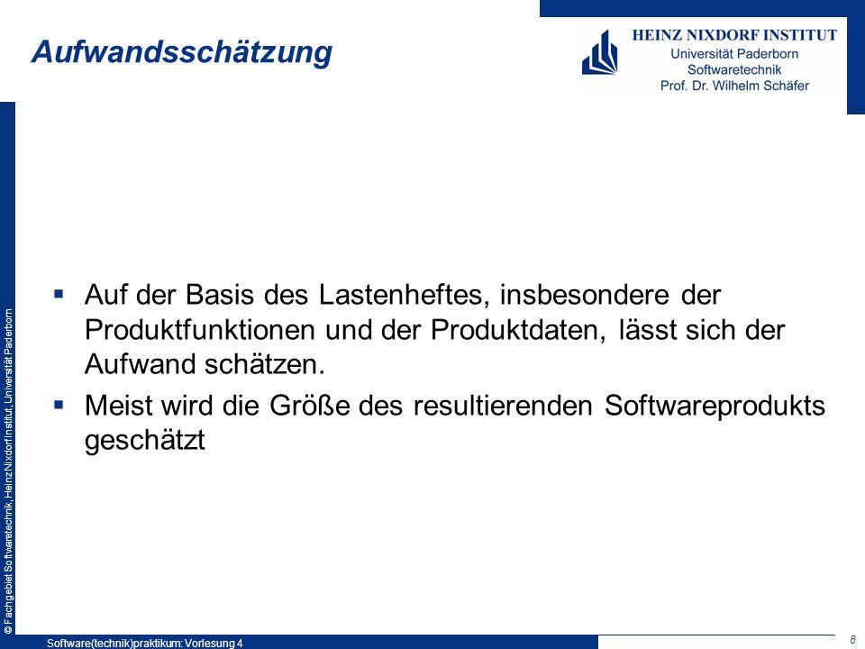 © Fachgebiet Softwaretechnik, Heinz Nixdorf Institut, Universität Paderborn Aufwandsschätzung Auf der Basis des Lastenheftes, insbesondere der Produkt