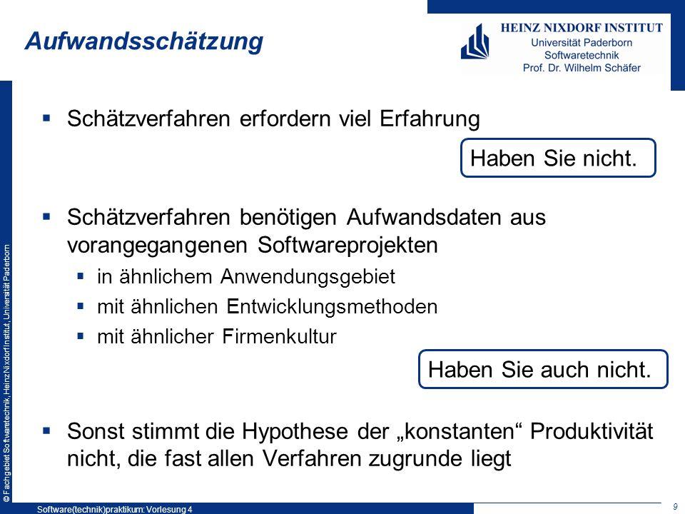 © Fachgebiet Softwaretechnik, Heinz Nixdorf Institut, Universität Paderborn Aufwandsschätzung Schätzverfahren erfordern viel Erfahrung Schätzverfahren
