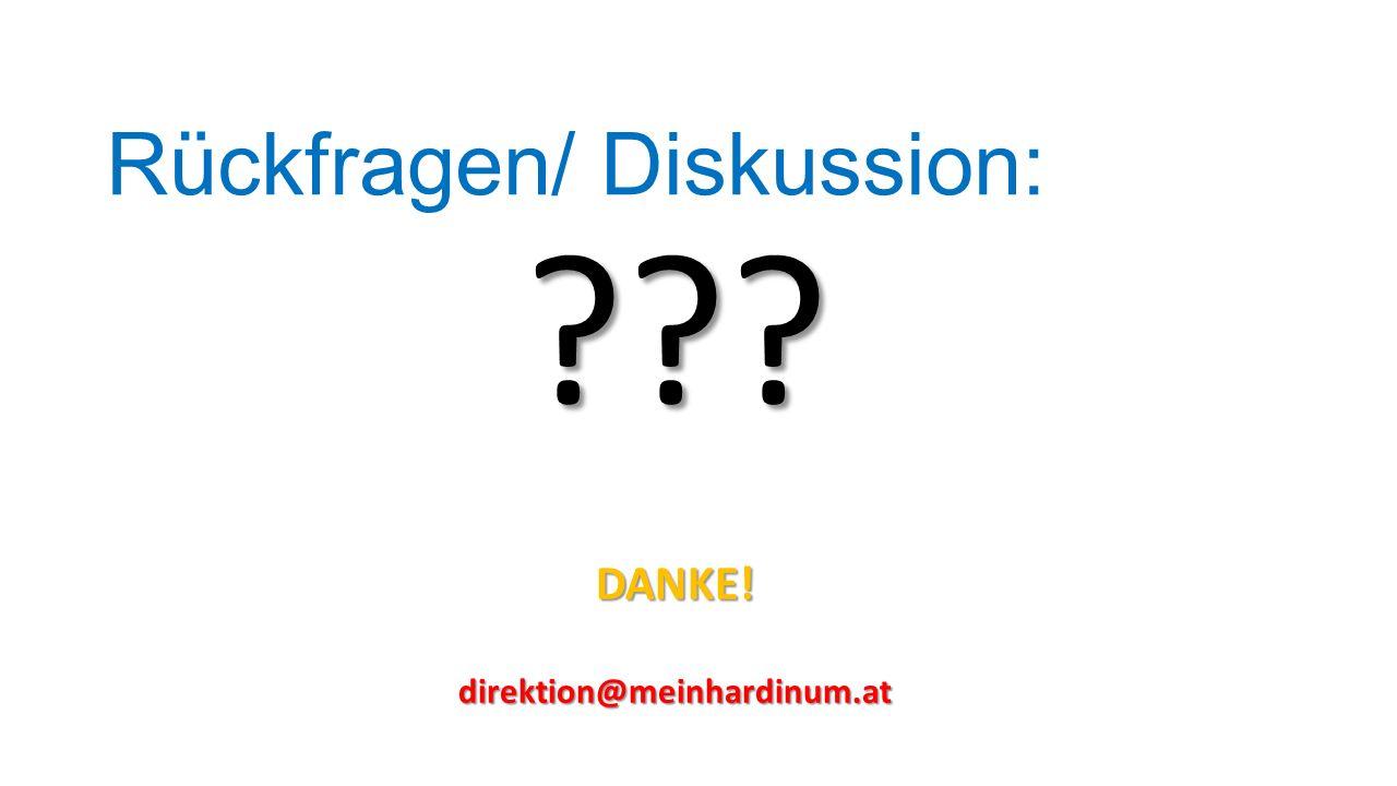 Rückfragen/ Diskussion: ???DANKE!direktion@meinhardinum.at