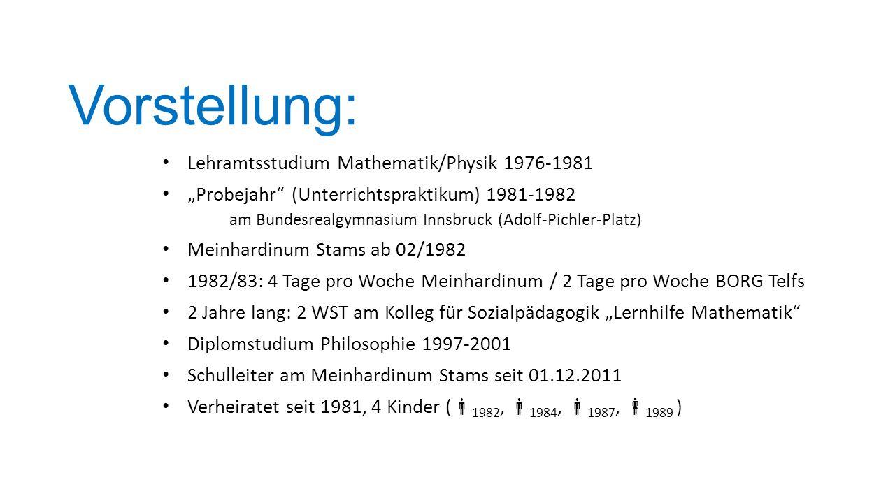 Vorstellung: Lehramtsstudium Mathematik/Physik 1976-1981 Probejahr (Unterrichtspraktikum) 1981-1982 am Bundesrealgymnasium Innsbruck (Adolf-Pichler-Pl