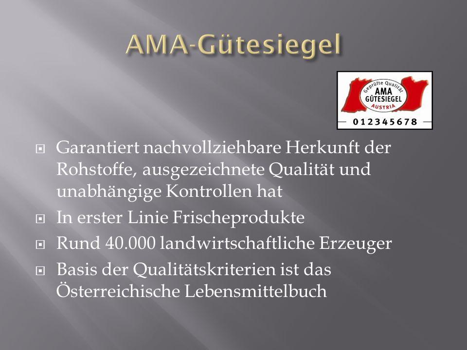 Garantiert nachvollziehbare Herkunft der Rohstoffe, ausgezeichnete Qualität und unabhängige Kontrollen hat In erster Linie Frischeprodukte Rund 40.000 landwirtschaftliche Erzeuger Basis der Qualitätskriterien ist das Österreichische Lebensmittelbuch