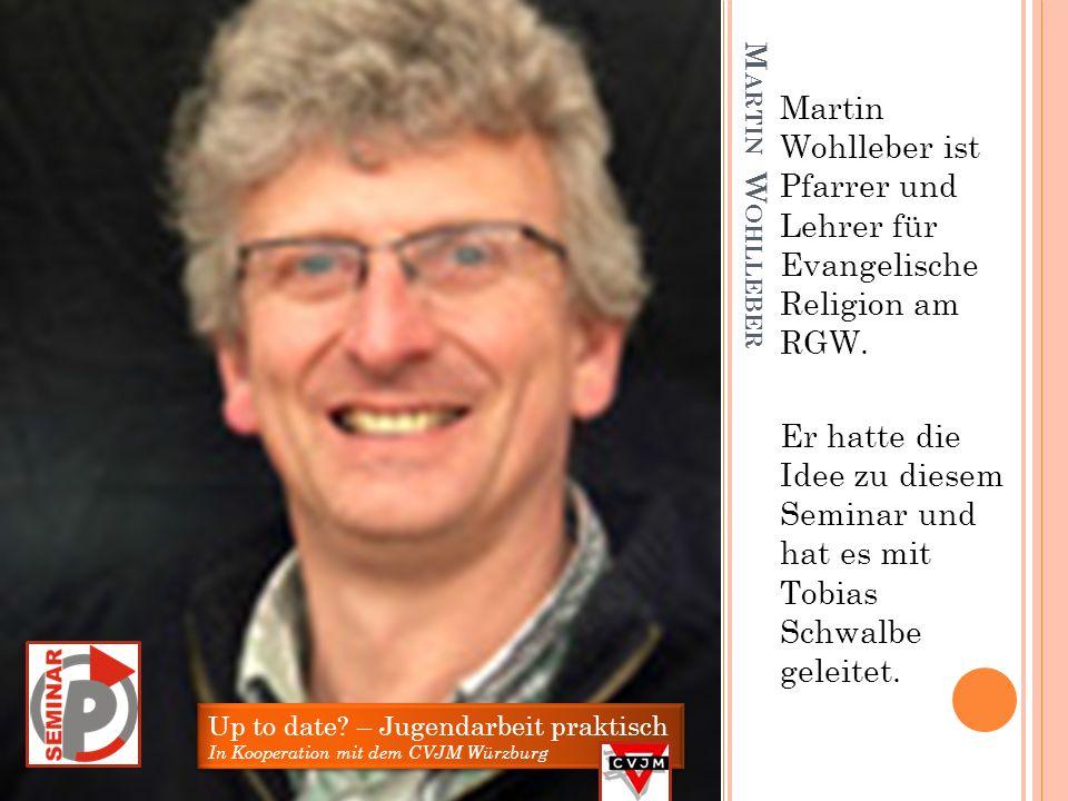 T OBIAS S CHWALBE Tobias Schwalbe ist Diplom Sozialpädagoge und hat als hauptamtlicher Mitarbeiter des CVJM unser P –Seminar Jugendarbeit mit vorberei