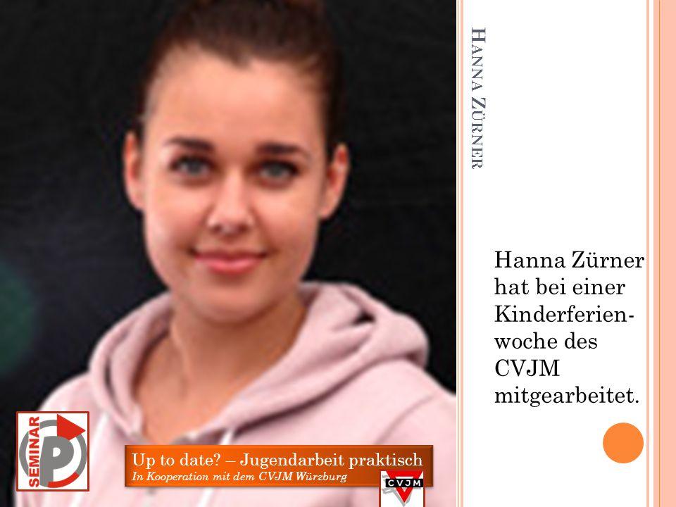V ANESSA Z IENERT Vanessa Zienert hat von März bis Juli einmal wöchentlich im Jugendzentrum Heuchelhof mitgearbeitet. Up to date? – Jugendarbeit prakt