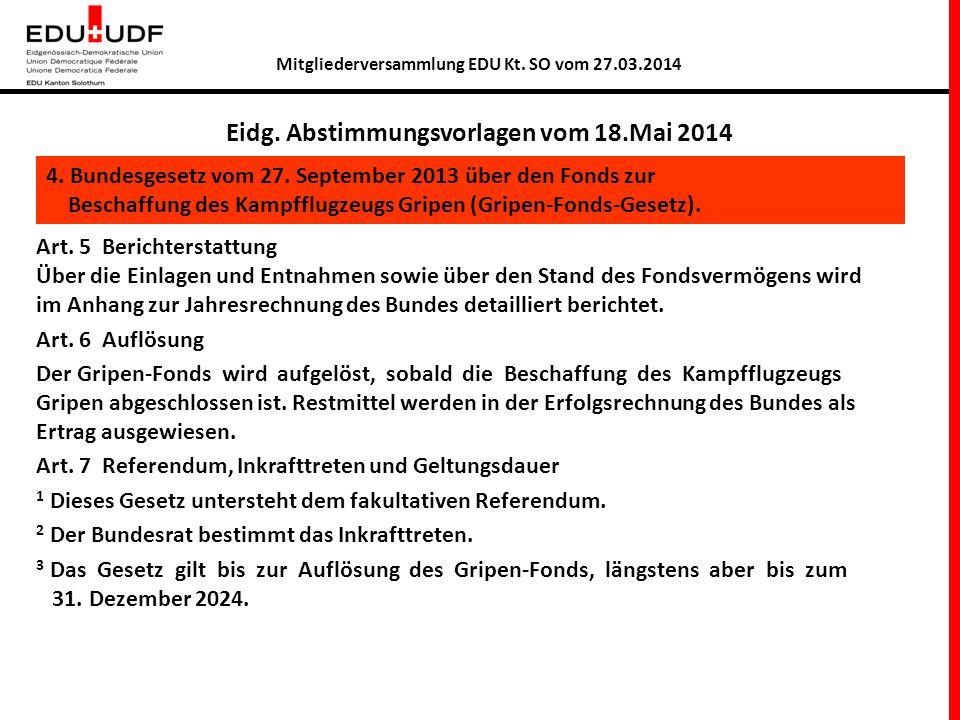 Mitgliederversammlung EDU Kt.SO vom 27.03.2014 2 Warum braucht es einen Tiger Teilersatz.