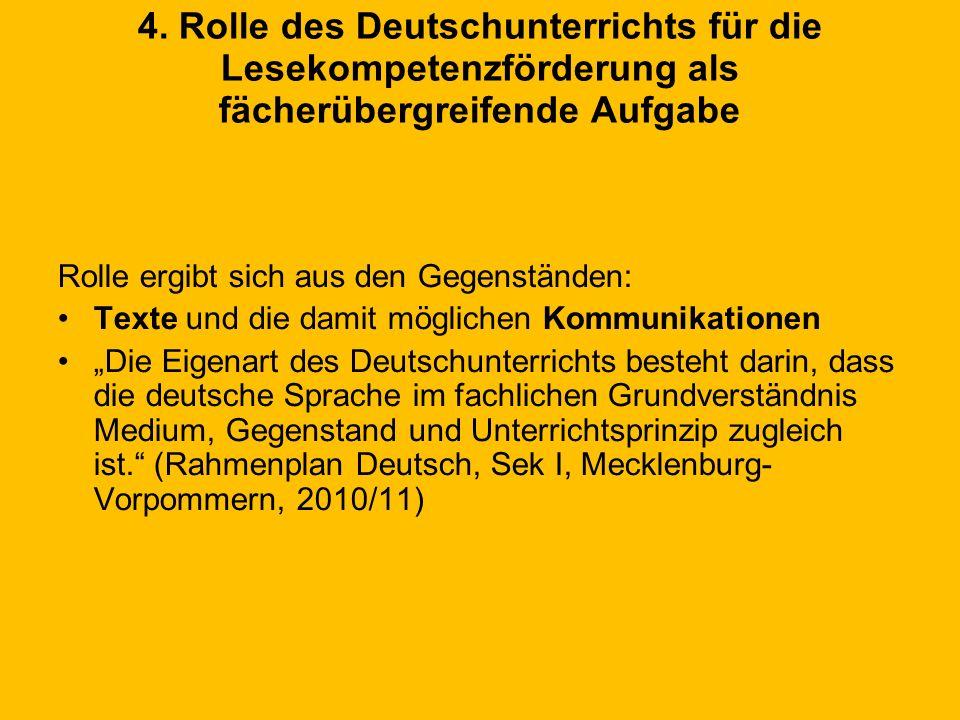 4. Rolle des Deutschunterrichts für die Lesekompetenzförderung als fächerübergreifende Aufgabe Rolle ergibt sich aus den Gegenständen: Texte und die d