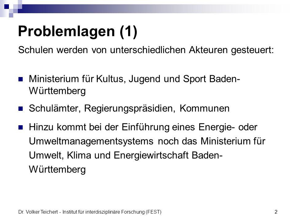 Dr. Volker Teichert - Institut für interdisziplinäre Forschung (FEST)2 Problemlagen (1) Ministerium für Kultus, Jugend und Sport Baden- Württemberg Sc