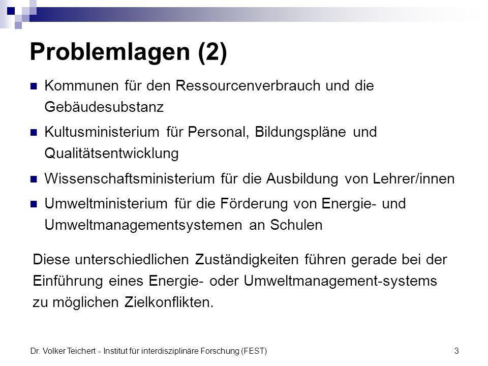 Dr. Volker Teichert - Institut für interdisziplinäre Forschung (FEST)3 Problemlagen (2) Kommunen für den Ressourcenverbrauch und die Gebäudesubstanz K
