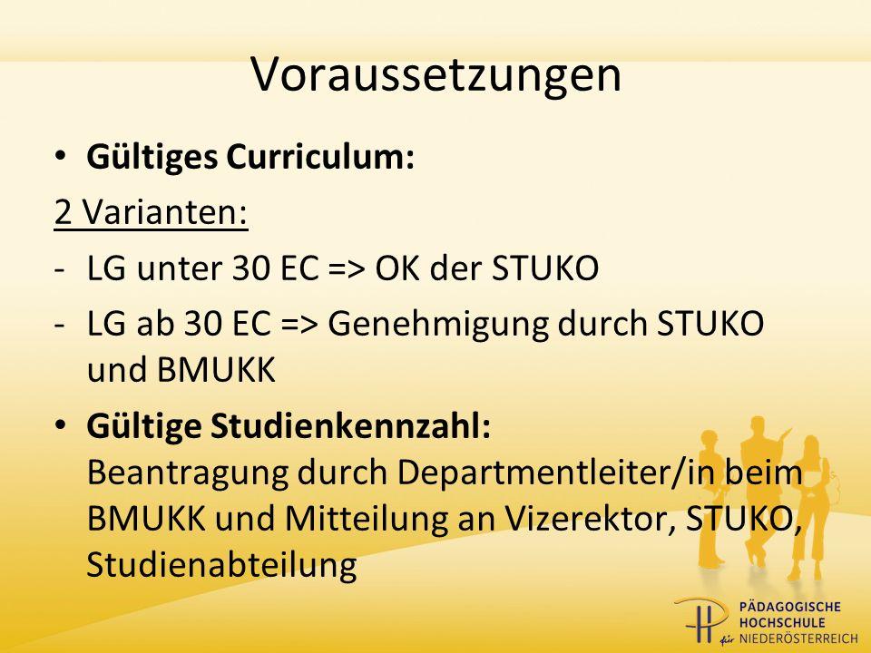 Voraussetzungen Gültiges Curriculum: 2 Varianten: -LG unter 30 EC => OK der STUKO -LG ab 30 EC => Genehmigung durch STUKO und BMUKK Gültige Studienkennzahl: Beantragung durch Departmentleiter/in beim BMUKK und Mitteilung an Vizerektor, STUKO, Studienabteilung