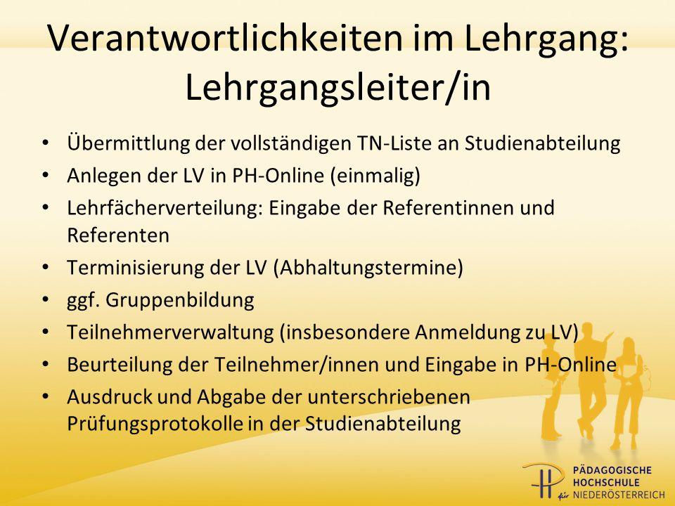 Verantwortlichkeiten im Lehrgang: Departmentleiter/in Zustandekommensmeldung des Lehrgangs an Studienabteilung Genehmigung der LV in PH-Online
