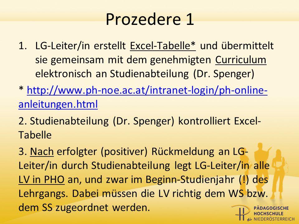 Prozedere 1 1.LG-Leiter/in erstellt Excel-Tabelle* und übermittelt sie gemeinsam mit dem genehmigten Curriculum elektronisch an Studienabteilung (Dr.
