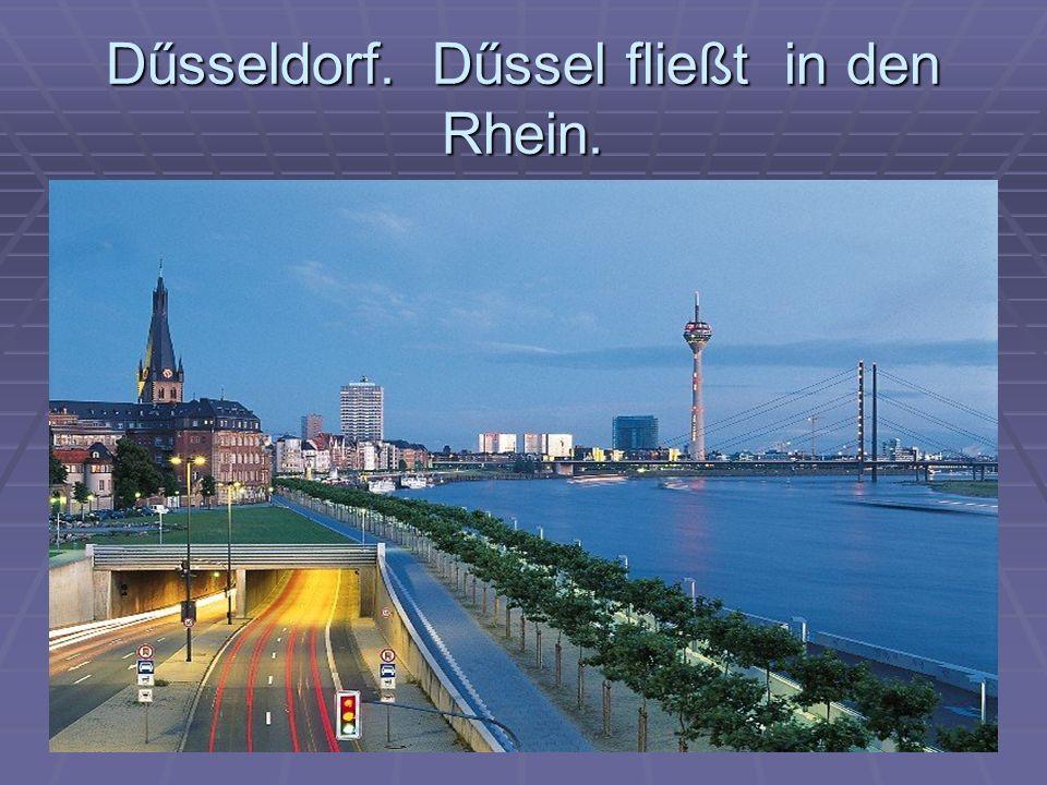 Dűsseldorf. Dűssel fließt in den Rhein.