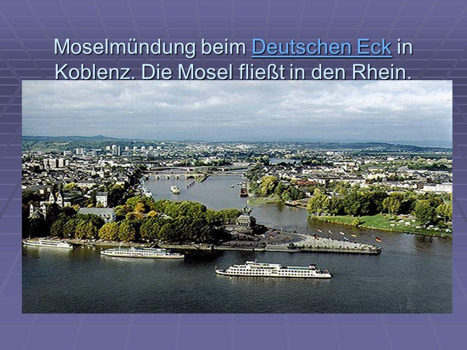 Moselmündung beim Deutschen Eck in Koblenz.Die Mosel fließt in den Rhein.