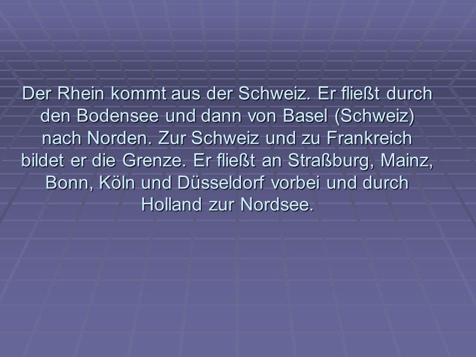 Der Rhein kommt aus der Schweiz.