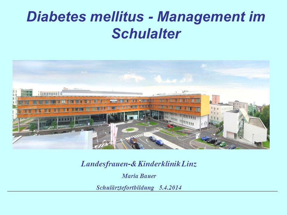 Typ I Diabetes: Insulinmangel -Immunologisch bedingt -Idiopathisch Typ II Diabetes: Insulinresistenz, dann auch verminderte Insulinsekretion Typ III Diabetes: Sonderformen -Genetische Defekte der B-Zell-Funktion = MODY -Genetische Defekte der Insulinwirkung = lipoatropher DM, -Insulinrezeptormutationen -Erkrankungen des Pankreas (CFRDM, Thalassämie) -Endokrinopathien -Medikamenteninduziert (Cortison, Posttransplantationsdiabetes) -Infektionen -Genetische Syndrome (Wolfram-Syndrom, Prader-Willi- Syndrom,….) Typ IV Diabetes: Schwangerschaftsdiabetes Klassifikation der Diabetesformen nach WHO 1998 und ADA 2003