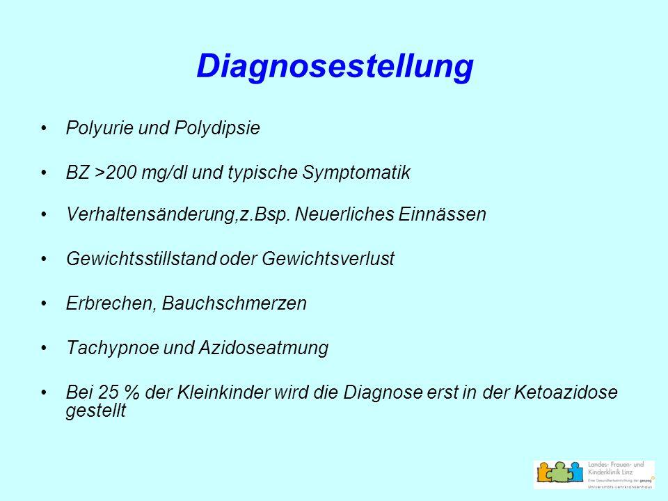 Diagnosestellung Polyurie und Polydipsie BZ >200 mg/dl und typische Symptomatik Verhaltensänderung,z.Bsp. Neuerliches Einnässen Gewichtsstillstand ode