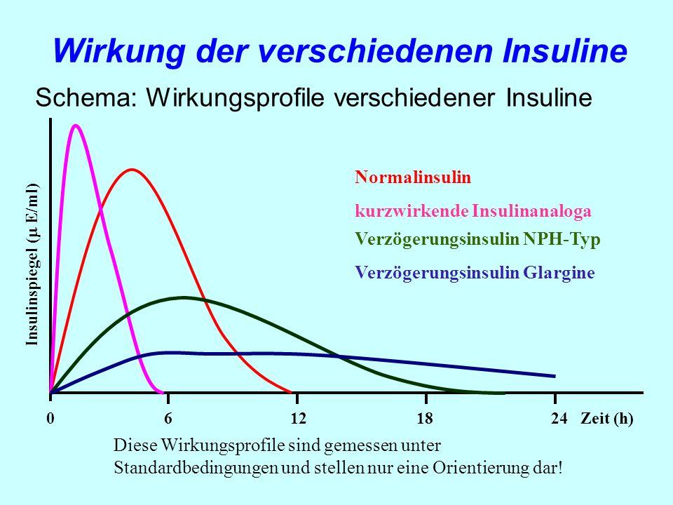 Schema: Wirkungsprofile verschiedener Insuline 0 6 12 18 24 Zeit (h) Insulinspiegel ( E/ml) Diese Wirkungsprofile sind gemessen unter Standardbedingun