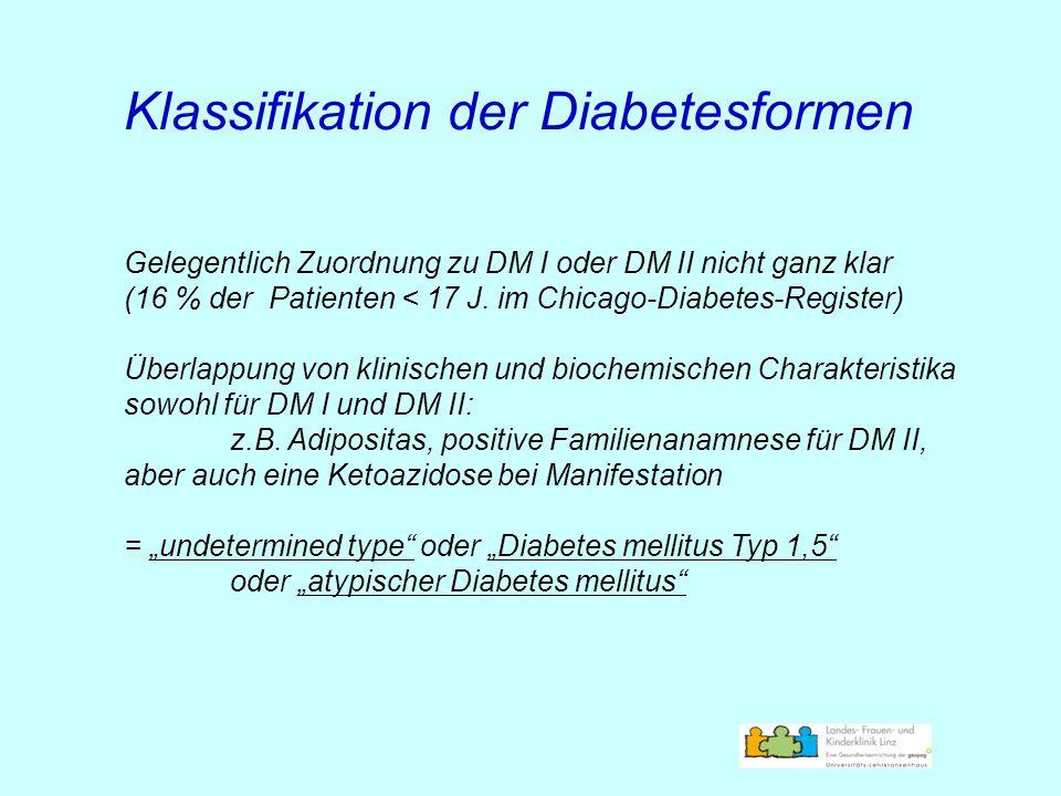 Klassifikation der Diabetesformen Gelegentlich Zuordnung zu DM I oder DM II nicht ganz klar (16 % der Patienten < 17 J. im Chicago-Diabetes-Register)