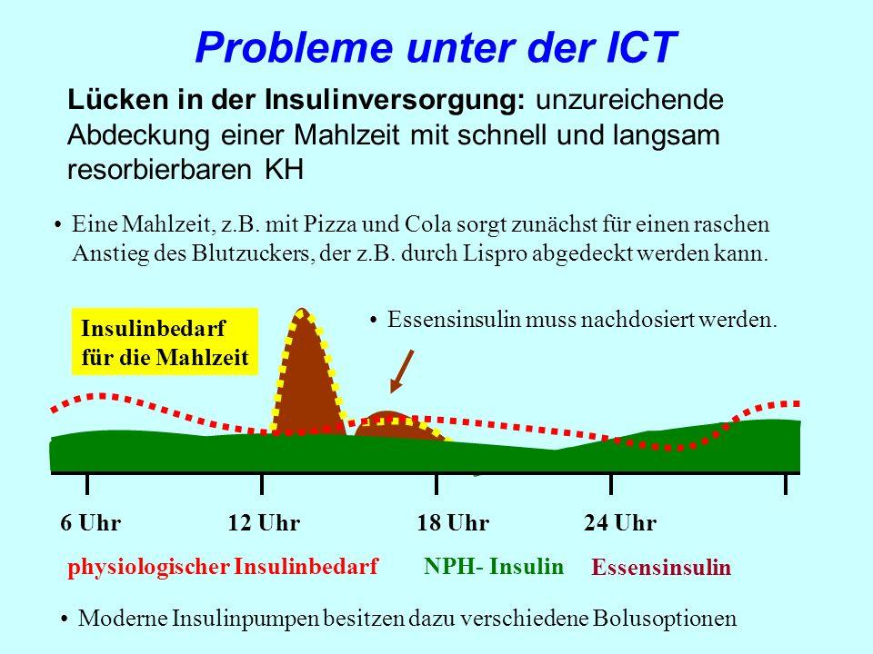 Lücken in der Insulinversorgung: unzureichende Abdeckung einer Mahlzeit mit schnell und langsam resorbierbaren KH NPH- Insulin Probleme unter der ICT