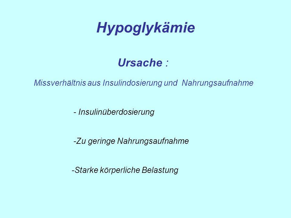 Hypoglykämie Ursache : Missverhältnis aus Insulindosierung und Nahrungsaufnahme - Insulinüberdosierung -Zu geringe Nahrungsaufnahme -Starke körperlich