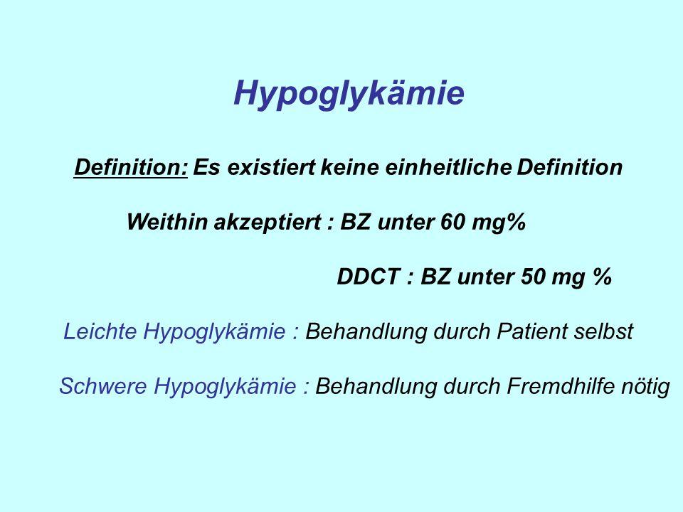 Hypoglykämie Definition: Es existiert keine einheitliche Definition Weithin akzeptiert : BZ unter 60 mg% DDCT : BZ unter 50 mg % Leichte Hypoglykämie