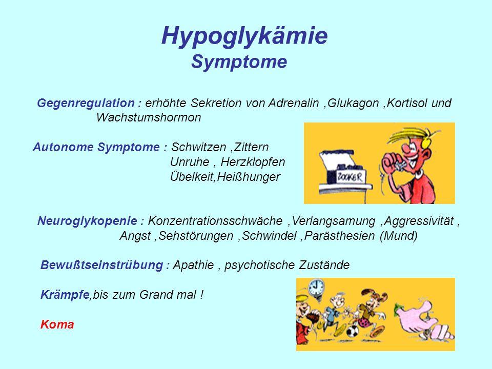 Hypoglykämie Symptome Gegenregulation : erhöhte Sekretion von Adrenalin,Glukagon,Kortisol und Wachstumshormon Autonome Symptome : Schwitzen,Zittern Un