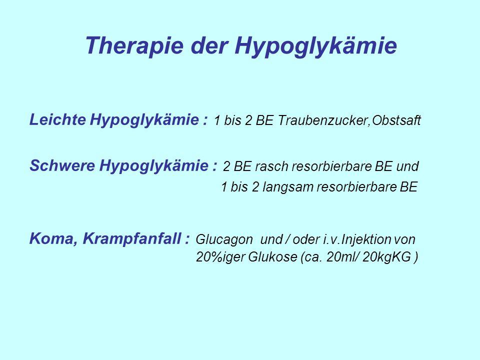 Therapie der Hypoglykämie Leichte Hypoglykämie : 1 bis 2 BE Traubenzucker,Obstsaft Schwere Hypoglykämie : 2 BE rasch resorbierbare BE und 1 bis 2 lang