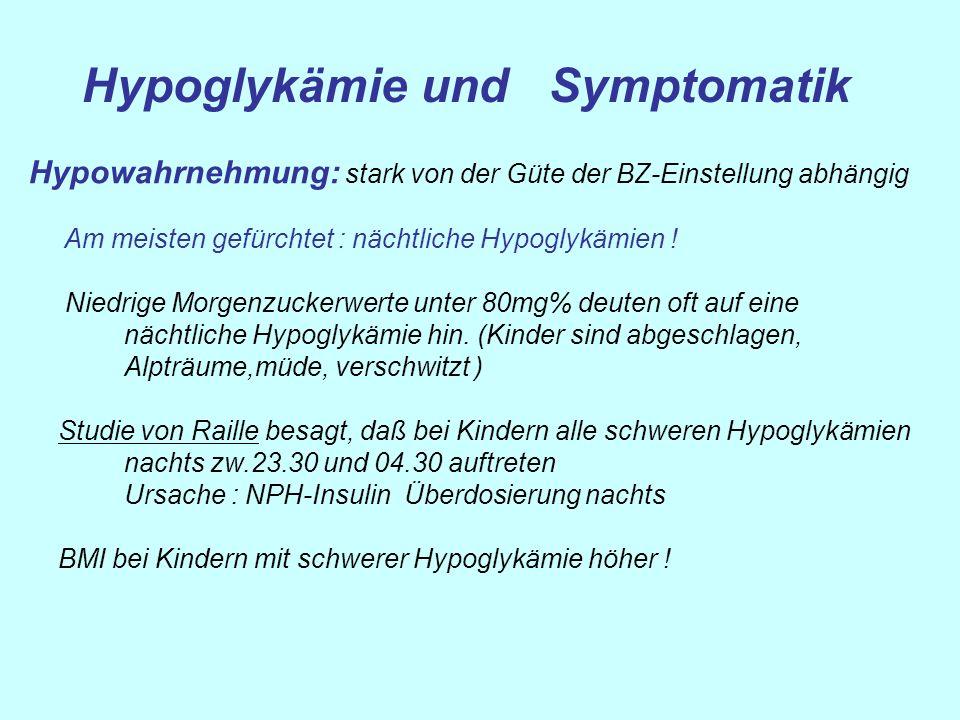 Hypoglykämie und Symptomatik Hypowahrnehmung: stark von der Güte der BZ-Einstellung abhängig Am meisten gefürchtet : nächtliche Hypoglykämien ! Niedri