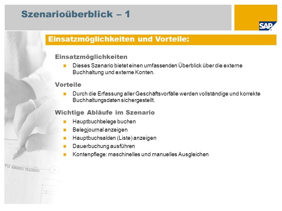 Szenarioüberblick – 2 Erforderlich SAP enhancement package 4 for SAP ERP 6.0 An den Abläufen beteiligte Benutzerrollen Hauptbuchhalter Leiter Geschäftsbuchhaltung Erforderliche SAP-Anwendungen: