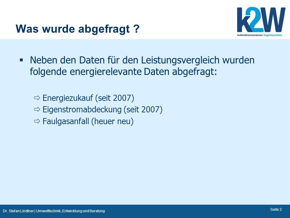 Dr. Stefan Lindtner | Umwelttechnik, Entwicklung und Beratung Seite 2 Was wurde abgefragt ? Neben den Daten für den Leistungsvergleich wurden folgende