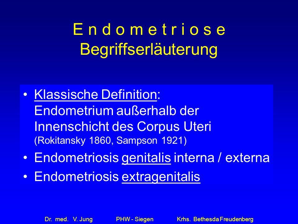Dr. med. V. Jung PHW - Siegen Krhs. Bethesda Freudenberg E n d o m e t r i o s e Begriffserläuterung Klassische Definition: Endometrium außerhalb der
