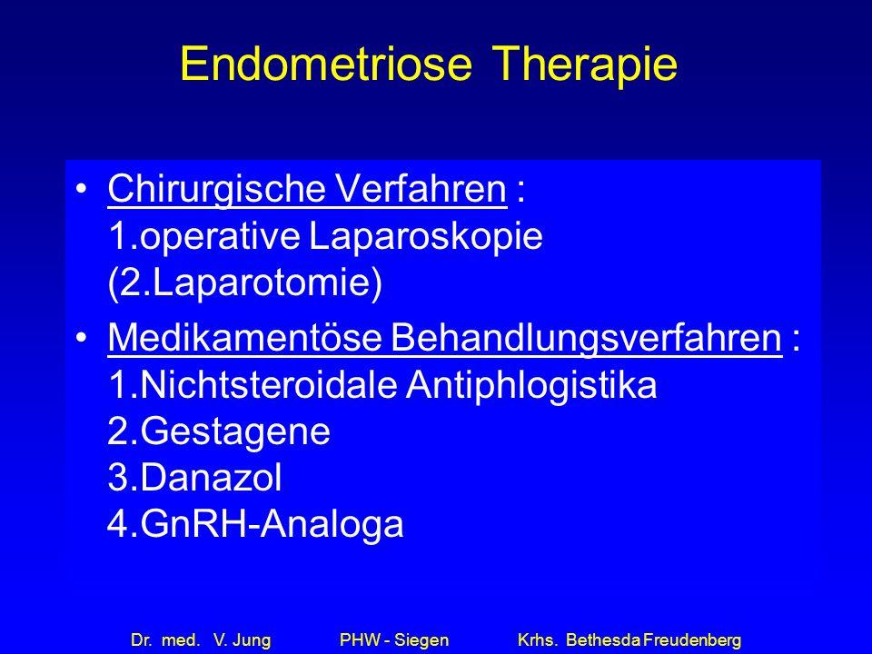 Dr. med. V. Jung PHW - Siegen Krhs. Bethesda Freudenberg Endometriose Therapie Chirurgische Verfahren : 1.operative Laparoskopie (2.Laparotomie) Medik