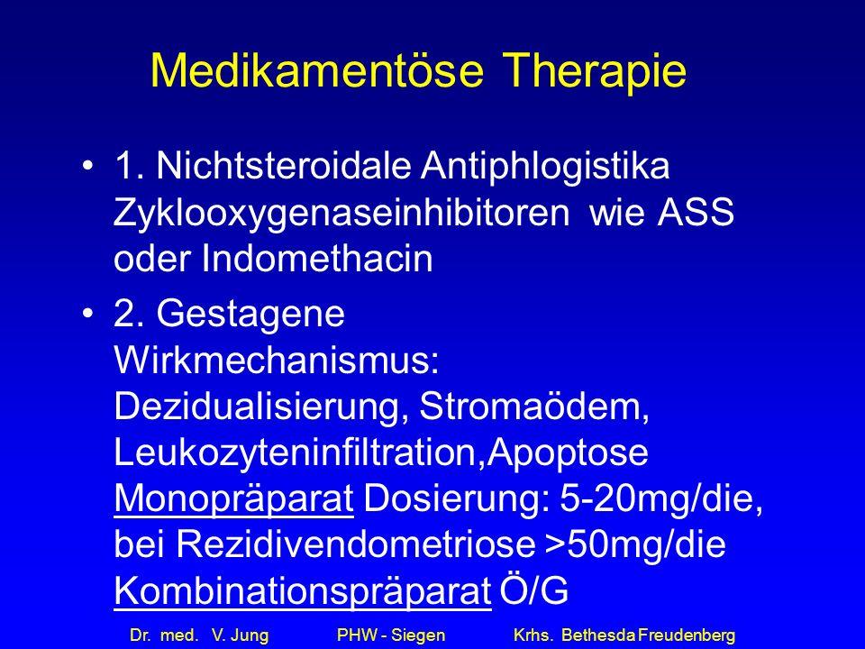 Dr. med. V. Jung PHW - Siegen Krhs. Bethesda Freudenberg Medikamentöse Therapie 1. Nichtsteroidale Antiphlogistika Zyklooxygenaseinhibitoren wie ASS o