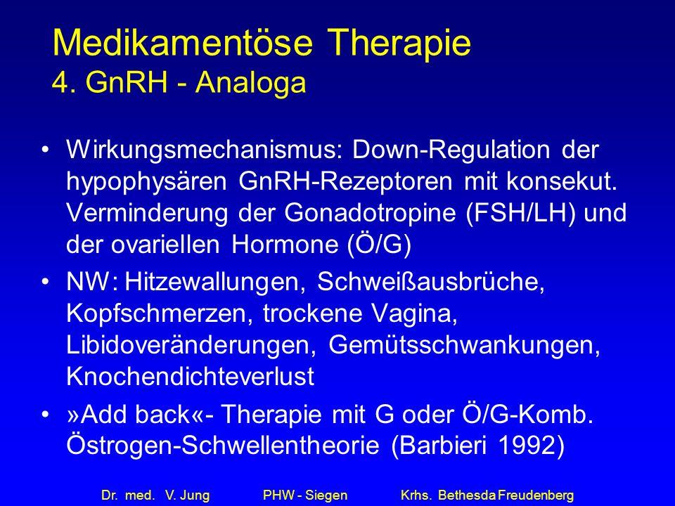 Dr. med. V. Jung PHW - Siegen Krhs. Bethesda Freudenberg Medikamentöse Therapie 4. GnRH - Analoga Wirkungsmechanismus: Down-Regulation der hypophysäre